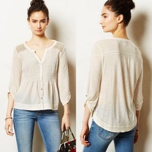 Meadow Rue White Lace Button Up Henley
